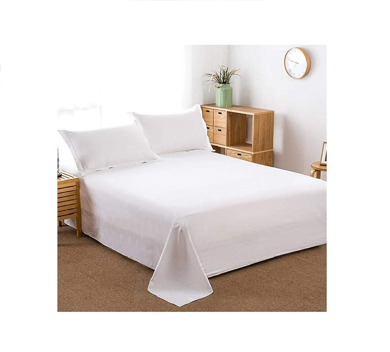 100% Cotton Flat Sheet Only- Superior Quality,Soft,Silky,Skin friendly,Breathable,Comfortable Bed Sheet (Queen, White)
