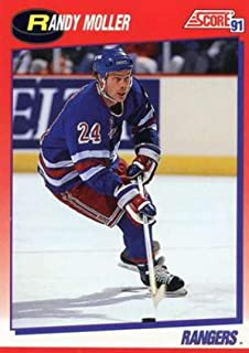 1991-92 Score Canadian Bilingual Hockey #79 Randy Moller New York Rangers Official NHL Trading Card From Pinnacle