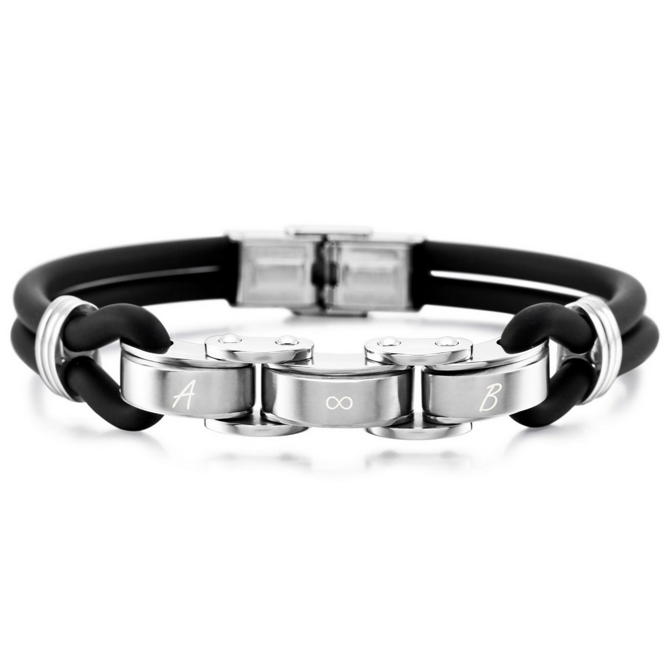 Customized Engraving MeMeDIY Black Stainless Steel Rubber Bracelet Bangle Cuff
