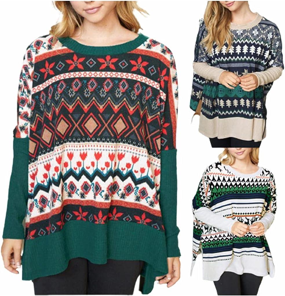SLENDIPLUS Women's Christmas Sweater Long Sleeve Color Block Boho Cape Sweatshirt Round Neck Loose Fall Winter Blouse