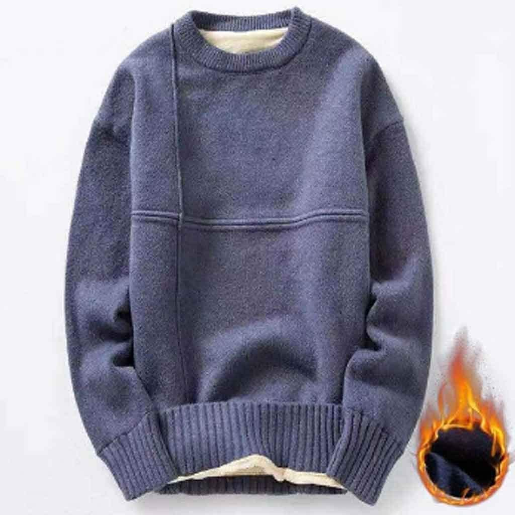 ZYING Cotton Knitted Sweater Men Autumn Winter Fashion Solid Wool Liner Pullovers Mens Neck Thick Oversized Sweaters (Color : Style 3)
