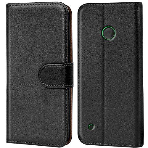 CoolGadget Hülle kompatibel mit Nokia Lumia 530 Tasche, R&umschutz Robustes Etui aus Kunstleder, Lumia 530 Schutz Tasche - Schwarz