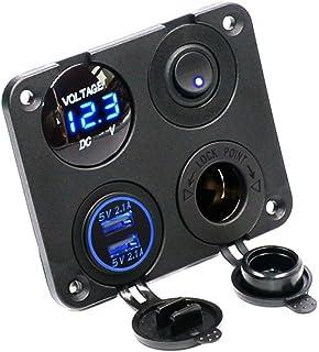 Dcolor 4 functievelden, dubbele USB-oplader, groen, LED, volt, 12 V, contactdoos, aan-uitschakelaar