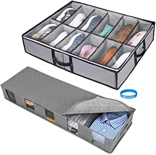 2 Pack Large Under Bed Shoe Storage & Clothing Organizer, Sturdy Breathable Durable Materials, for Men Women Closet Under Bed Storage Boxes
