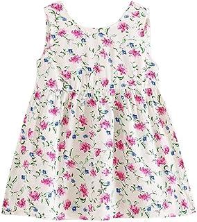 Tonsee 子供 キッズ 女の子 ワンピース ガールズ 夏 袖なし 花柄 ドレス ビーチ パーティー カジュアル 旅行 海遊び 100CM-140CM