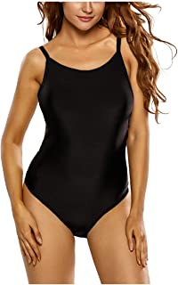 c4753b59560 Kaamastra Women's Contrast Trim Strappy Back One Piece Swimsuit (CV_LC410065-2,Black,