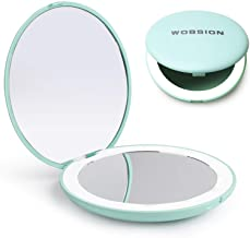 wobsion LED Lighted Travel Makeup Mirror, 1x/10x Magnification Compact Mirror, Portable for Handbag, Purse, Pocket, 3.5 in...