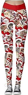 cinnamou Damen cinnamou Leggings Weihnachten, Damen Bunte Leggins Sport Strumpfhose 3D Xmas Muster Pants Yoga Joggen Hose