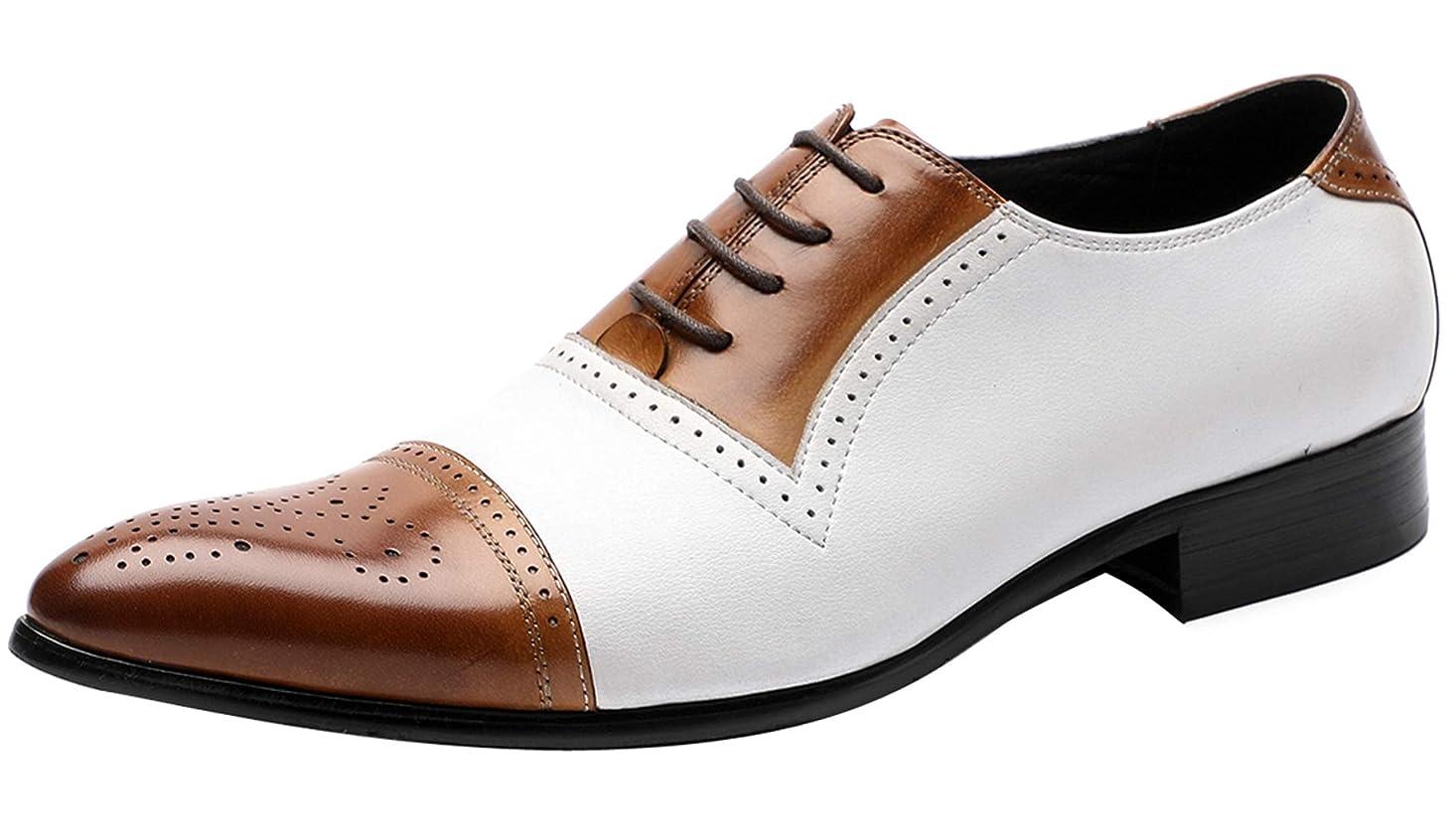 Oxford Shoes for Men Formal Leather Lace Up Brogue Cap-Toe Mens Dress Shoes Fashion Contrast Color