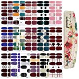 TYLCC 16 Sheets Nail Stickers Full Nail Wraps,Self-Adhesive Nail Art Strips Manicure Kits with 3Pc Nail Buffers Files for Women Girls