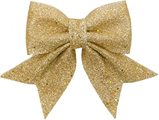 FLASH WORLD Christmas Wreath Bow Set Great for Christmas Tree 10 Pieces,Garland, Large Gifts, Parties and More - Indoor or Outdoor Christmas Decorations (Gold, 8W10L)