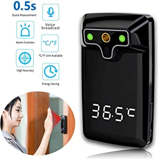 JJIIEE Wall-Mounted Infrared Thermometer,Non Contact Forehead 0.5S Fast Temperature Measurement with AI Intelligent Voice Broadcast for Public Area,Free 50pcs face Cover