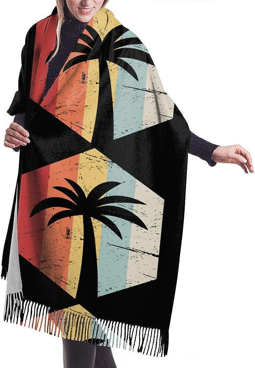 Palm Tree Retro. Winter Scarf Cashmere Scarves Stylish Shawl Wraps Blanket