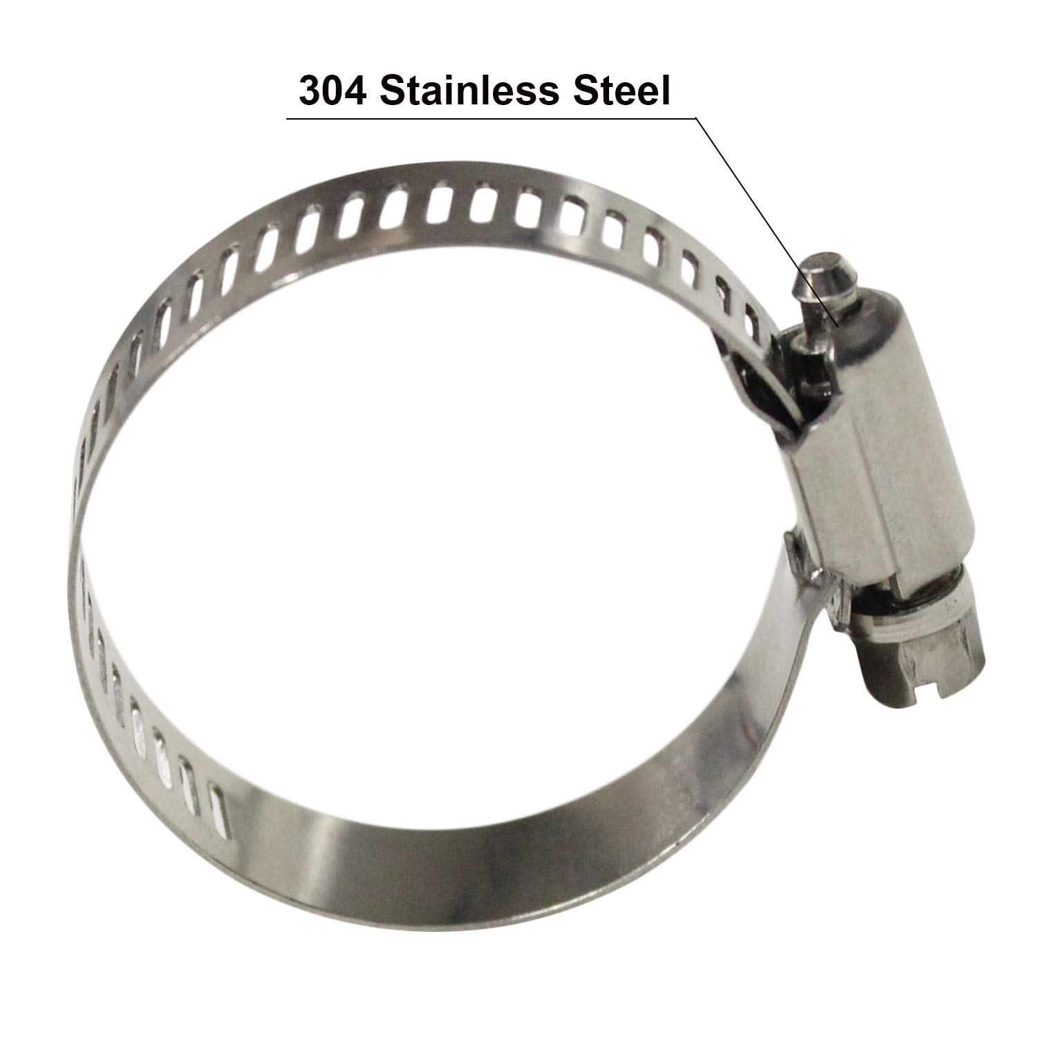 WYKA 5 Pack Worm Gear Hose Clamp Adjustable 304 Stainless Steel Pipe Clips 4.65-5.51 118-140mm
