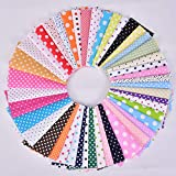 100 Pieces Cotton Fabric Colorful Fabric Bundles Sewing Square Fabric Scraps Embellishment Printing Quilting Fabric Squares 50 Patterns Cotton Patchwork for DIY Craft Party Supplies (Dots)