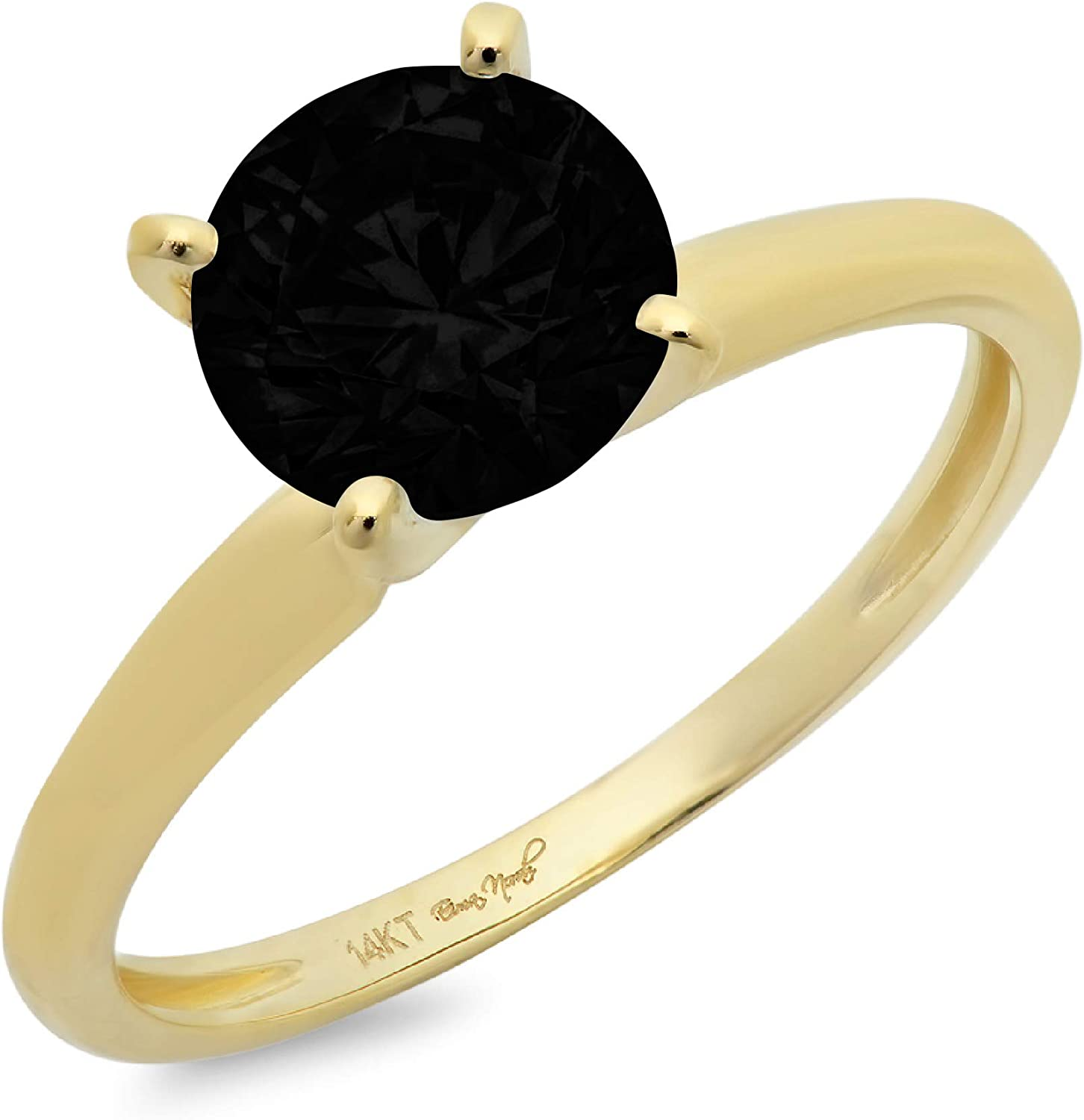 0.50 ct Brilliant Round Cut Solitaire Flawless Genuine Natural Black Onyx Gemstone Ideal VVS1 4-Prong Engagement Wedding Bridal Promise Anniversary Designer Ring in Solid 14k Yellow Gold for Women