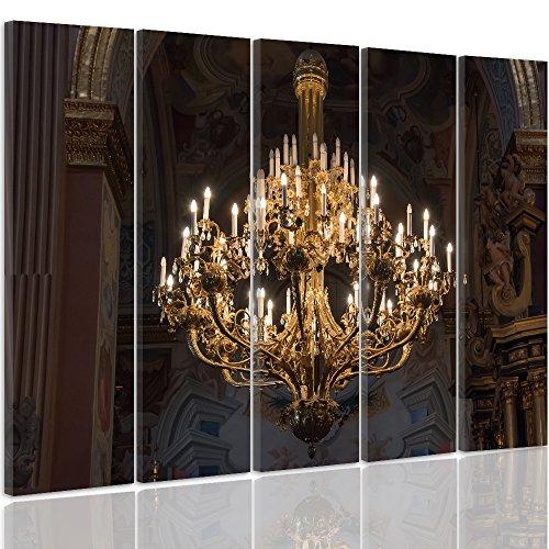 Feeby. Foto op canvas - 5 delen - afbeeldingen, muurafbeelding, kunstdruk XXL, 5-delig, kroonluchter, kerk, architectuur, GEEL, BRUIN C type, 300x140 cm
