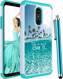 Voanice forLG Stylo 5 Case,LG Stylo 5 Phone Case,Shockproof Hybrid Heavy Duty Hard Plastic& Silicone Rubber Dual Layer Rugged Protective Armor Women Girls Men Protective Cover for LG Stylo 5-Teal Sea