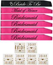 BACHELORETTE PARTY SASH SET(PINK):Bride to be sash,Maid of honor sash,3 Bridesmaid sash/Team Bride free Bride/Bride tribe tattoos, for Bridal shower,Engagement party favors &supplies (pink,black)