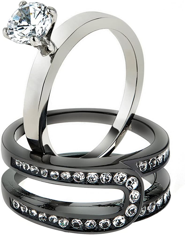 Marimor Jewelry Women's 1.02 Year-end annual account Indianapolis Mall Ct Cubic Zirconia S Black Stainless