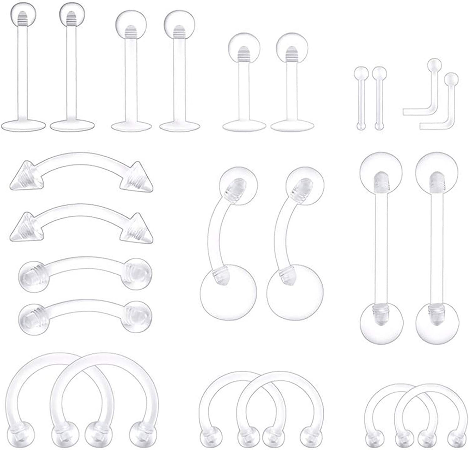 BodyJ4You 24PC Piercing Retainer Set Clear Flexible Plastic 14G 16G 18G 20G Belly Nose Tongue Lip