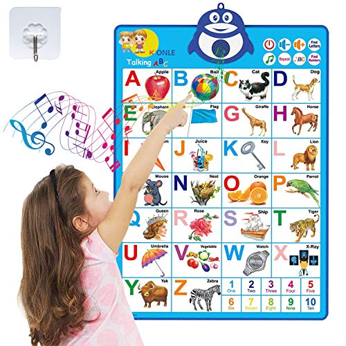 WATOYOO Electronic Kids Education Wall Charts - Alphabet Learning for Children Kids Toddlers, Interactive Toys for Children, Wall-Mounted Toys,Best Toys for 1 2 3 Year Old Girls and Boys.