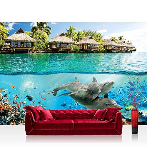 Vlies Fototapete 312x219cm PREMIUM PLUS Wand Foto Tapete Wand Bild Vliestapete - Meer Tapete Paradies Meer Bali Meerestiere Delfine blau - no. 1888