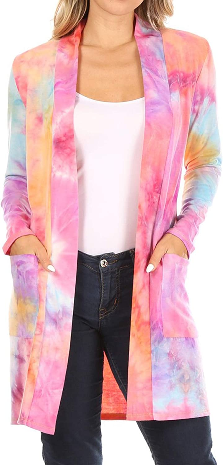 Women's Lightweight Long Sleeve Open Front Casual Printed Midi Cardigan