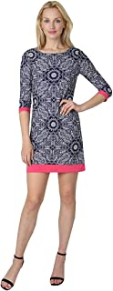 T I A N A B. Tiana B Women's 3/4 Sleeve Puff Print Knit A-Line Dress with Pink Trim in Cuffs & Bottom Hem