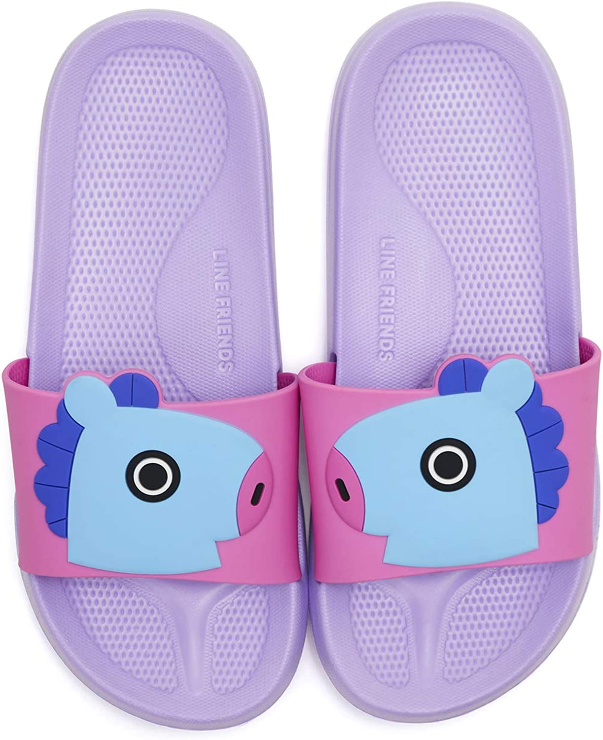 LINE FRIENDS BT21 Official Merchandise MANG Character PVC Indoor House Slippers, Size 8 Purple Pink