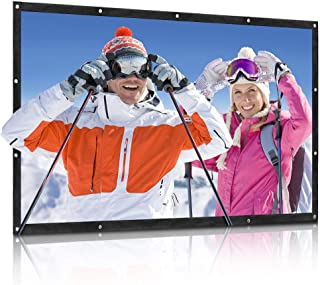 QKK Projector Screen 100inch 16:9 Front and Rear Projection Screen Portable Simple Mounted Screen Curtain for Home Theater...