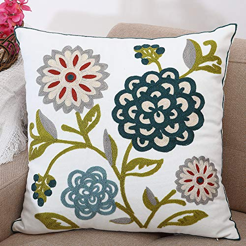 Oneslong Decorative Throw Pillows Covers Embroidered Couch Cover Modern Farmhouse Tapestry Style Home Decor for Couch Sofa Bed Living Room 18x18 Inch 100% Cotton