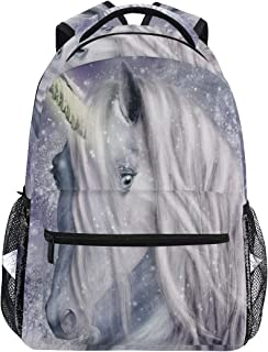 Women Canvas Backpack A Magical Unicorn with Snowy College School Shoulder Bag for Girls