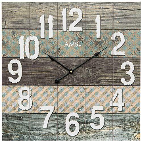 AMS - Quarzuhr - Wanduhr - viereckig - bedrucktes Holzzifferblatt - arabische Zahlen grau - Zeiger schwarz