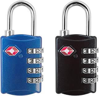 TSA Approved Luggage Lock - 4 Digit Combination Padlock for Travel Luggage Backpack Bag Suitcase Lockers Lock - Pack of 2 ...