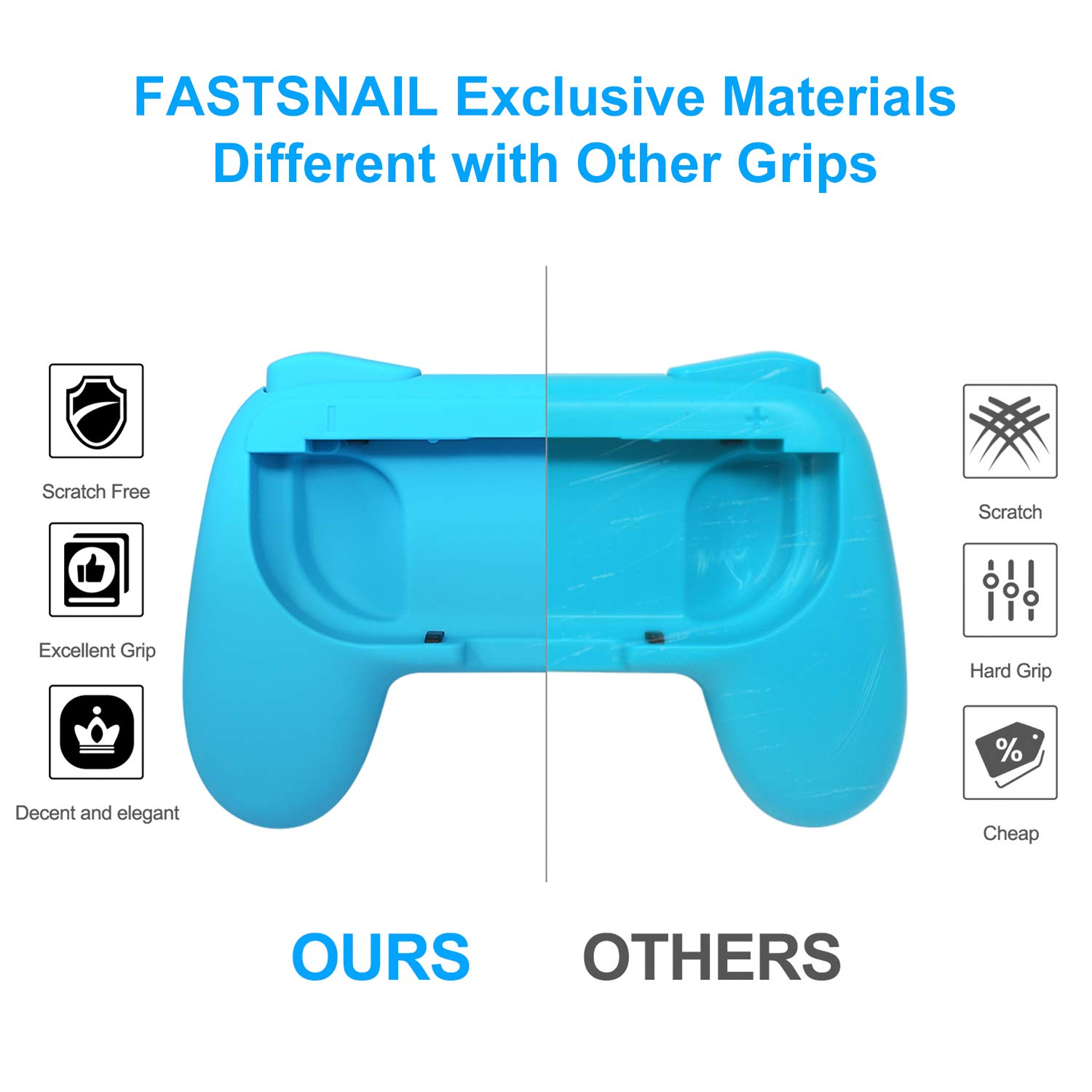 FASTSNAIL Grips Compatible with Nintendo Switch for Joy Con & OLED Model for Joycon, Wear-Resistant Handle Kit Compatible with Joy Cons Controllers, 2 Pack(Blue and Red)