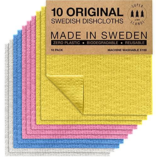 SUPERSCANDI Superscanddi, Panni svedesi, ecologici, riutilizzabili, sostenibili, biodegradabili, (10 Colori Assortiti)