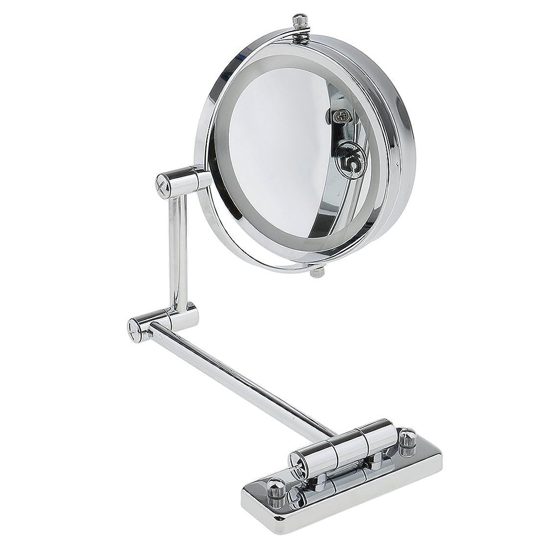 磁気調整する見出しKOZEEY SMDライト 両面ミラー 壁掛け式 5倍拡大鏡 360度回転 エチケットチェック