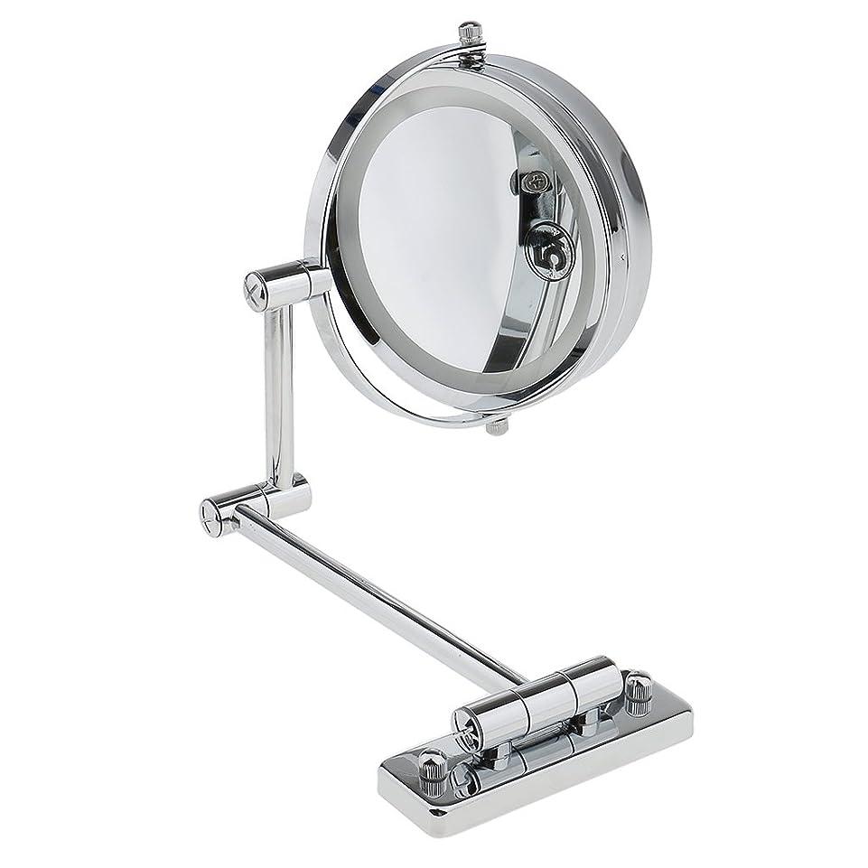 マナー明確な淡いKOZEEY SMDライト 両面ミラー 壁掛け式 5倍拡大鏡 360度回転 エチケットチェック