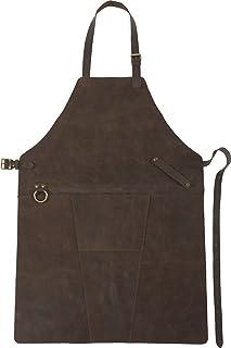 FUN FAN LINE - Tablier Professionnel Luxueux en Cuir de Style Vintage avec des Bretelles réglables et Une Poche Frontale. ...