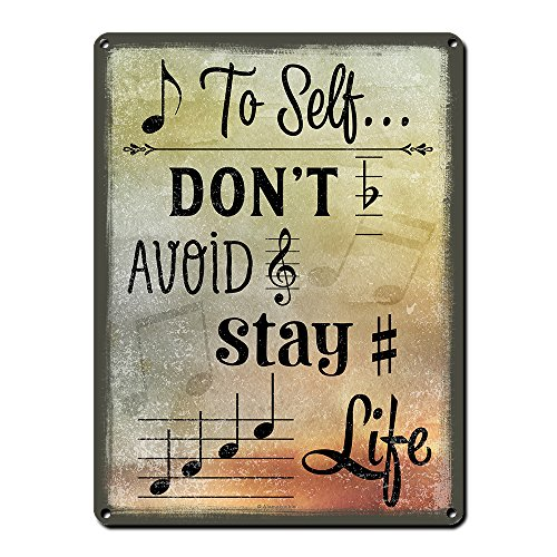 Product Image of the Note to Self, 9 x 12 Inch Metal Sign, Music Themed Decor for Music Room or...