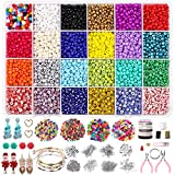6/0 Glass Seed Beads Kit Bulk Assortment, 6924pcs 4mm Pony Beads with Color Gemstone Chips Wood Beads Earring...
