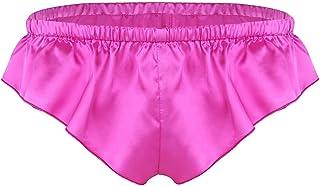 FEESHOW Mens Shiny Satin Frilly Silky Knickers Sissy Crossdress Briefs Panties Lingerie Underwear