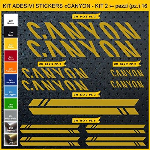 Pimastickerslab Aufkleber Fahrrad Canyon -KIT 2- Kit Aufkleber Stickers 16 Stück – bici Bike Cycle wählbar Cod.0949 (091 ORO)