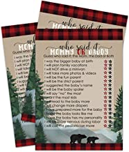 Lumberjack Baby Shower Game Guess Who Mommy or Daddy - Pack of 25