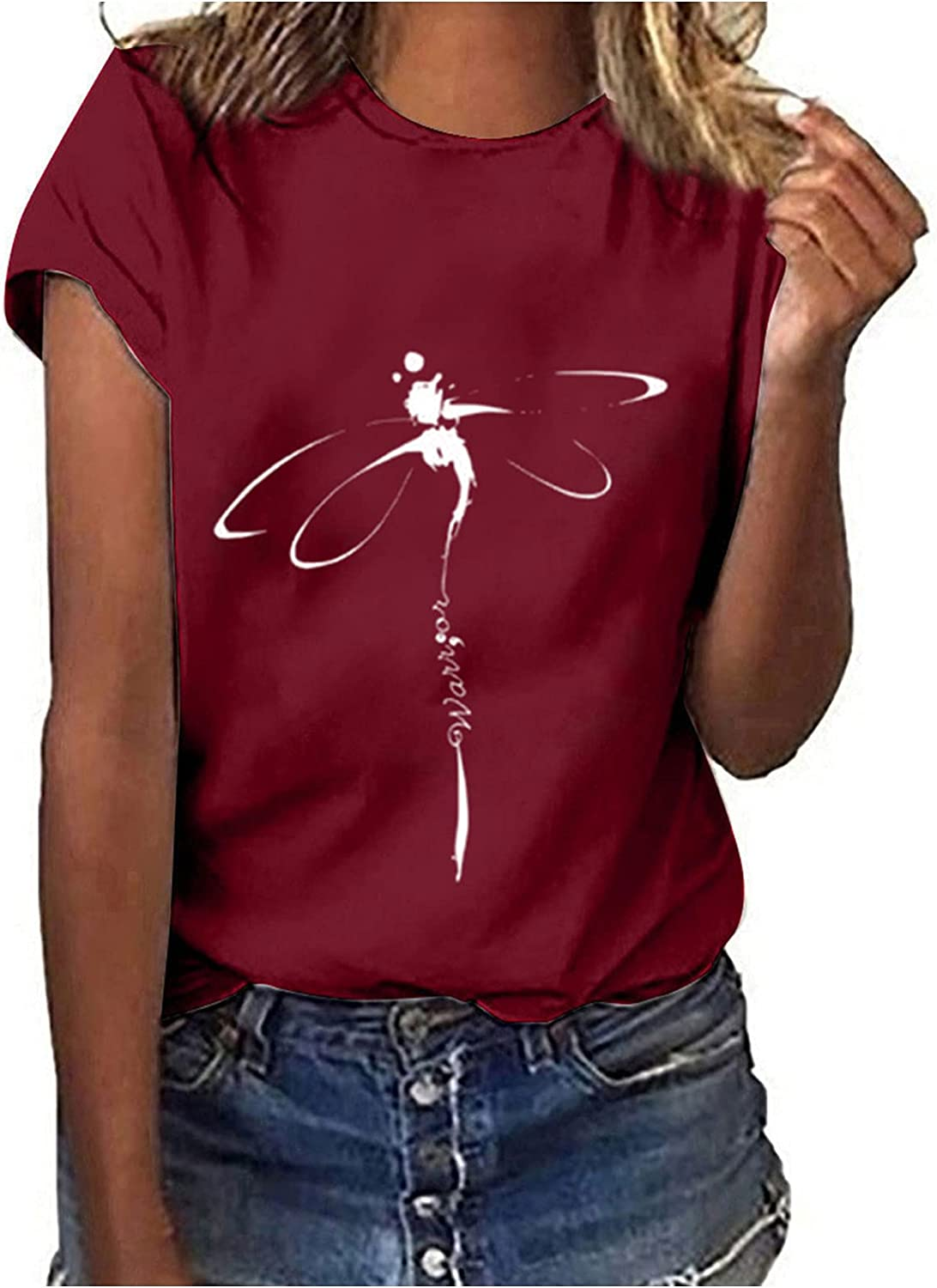 Bidobibo Graphic Tees Women Printed Crew Neck Large Max 53% OFF special price Dragonfly Tshirts