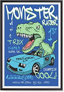EzPosterPrints - Awesome Dinosaurs T-Rex Posters - Skater Racer Trex Jurassic Games Poster Series Wall Art Print for Home Kidsroom Decor - Super CAR - 12X18 inches