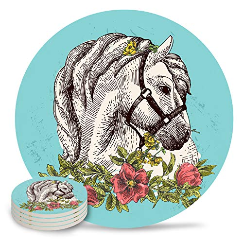 Set of 4 Animal Coasters for Drinks Absorbing Ceramic Coaster With Cork Base Suitable for Mugs and CupsHomeOfficeKitchen Boho Style Horse Poppy Wreath Equestrian Illustration