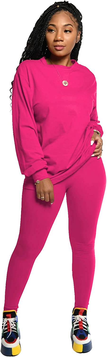 PINSV Womens 2 Piece Outfits Long Sleeve Sweatsuits Outfits Jogging Suits Sweat Loungewear Sets