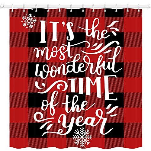JAWO Weihnachts-Duschvorhang, Frohe Weihnachten Zitate auf Büffel Karo Rot Schwarz Plaid Duschvorhänge, Polyestergewebe Badvorhang mit 12 Haken, Badezimmer-Zubehör, 175 x 178 cm